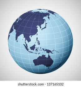 vector world globe in blue focused on asia illustration