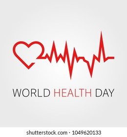 Vector world health day design concept. Heart cardiogram illustration. Medical care. Template for poster, banner, advertisement, clear form, creative card
