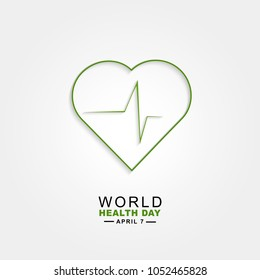 Vector world health day design concept. April 7. Heart and with cardiogram. Template for poster, banner, advertisement, clear form, creative card. Medicine idea.