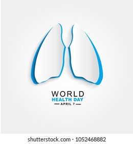 Vector world health day design concept. April 7. Blue Paper cut Human Lungs. Template for poster, banner, advertisement, clear form, creative card.  Medicine idea.Paper cut style. Origami