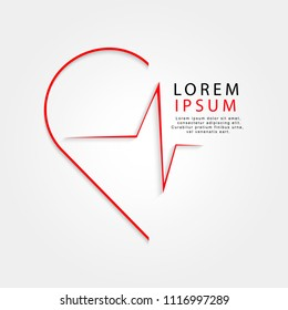 Vector world health day design concept. Heart with cardio gram. Template for poster, banner, clear form, creative card. Medicine idea.