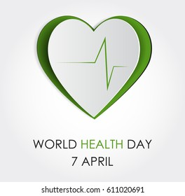 Vector world health day design concept. Cut out heart cardiogram illustration. Medical care. Template for poster, banner, advertisement, clear form, creative card. Notch out symbols.Medicine idea