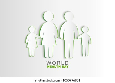 Vector World Health Day poster design. Save Health concept.  Paper Family  illustration. Protect world idea.Template for banner, advertisement cover. Realistic Paper card
