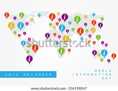 d8ef4431caf9 Vector World Information Day illustration. Design concept International  Information Day with colorful pins.