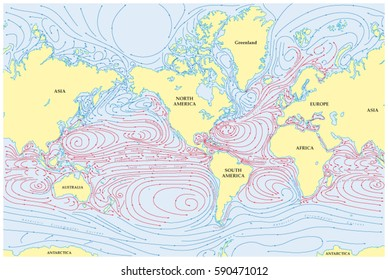 Ocean currents images stock photos vectors shutterstock vector world map of all sea currents gumiabroncs Images