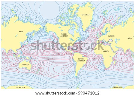 World Map With Currents.Vector World Map All Sea Currents Stock Vector Royalty Free