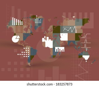 Vector world map background with graphs