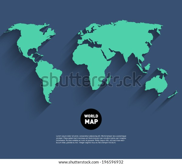 Vector world map background with long shadow and flat design style, clean and modern
