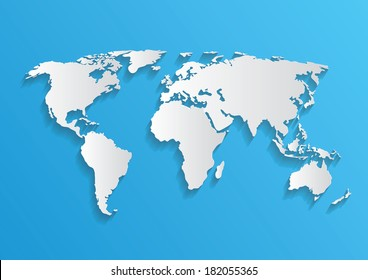Vector world map card paper