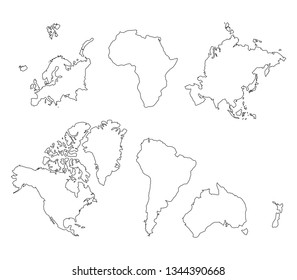 Vector World Map Continents Line Arts