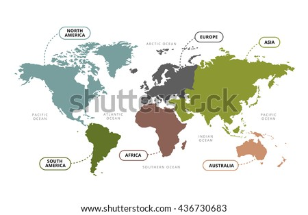 Vector world map continents section name stock vector royalty free vector of world map with continents section name gumiabroncs Gallery