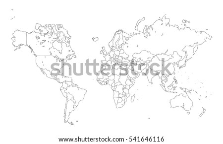 Vector World Map Countries Outline Stock Vector Royalty Free