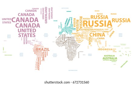 World map countries name text typography vector de stock652957663 vector world map with country names in typography colored by continents gumiabroncs Images
