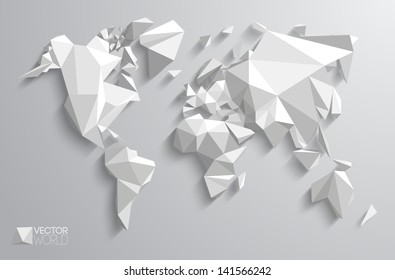 Vector world map design triangle pattern stock vector 2018 vector world map design triangle pattern continents with vector shadows gumiabroncs Gallery
