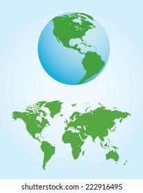 Vector World Map and Globe Set