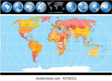 World map with country names images stock photos vectors vector world map with globes gumiabroncs Choice Image