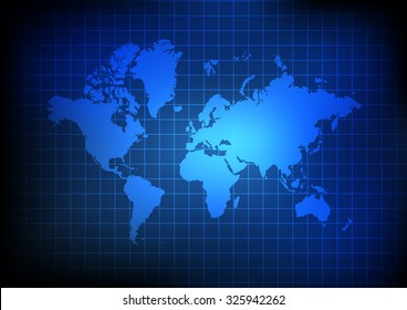 Vector : World map and grid on blue background