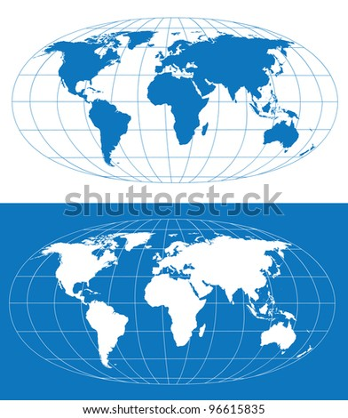 Vector World Map Grid Separate Layers Stock Vector Royalty Free