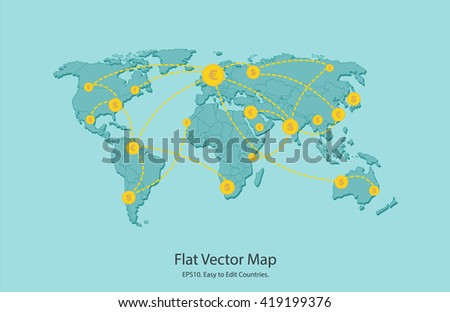 Vector world map illustration flat background stock vector royalty vector world map illustration flat background market trade moneymaking business market gumiabroncs Image collections