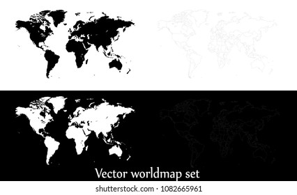 Vector world map illustration isolated over white and black background. Flat globe, earth template. World map icons isolated set. Silhouette, traveling outline shapes