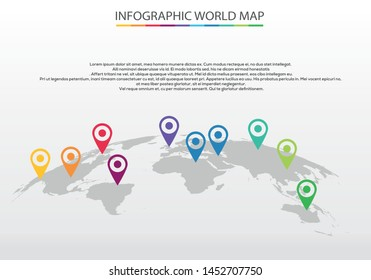 Vector world map and info graphics elements ,Vector illustration