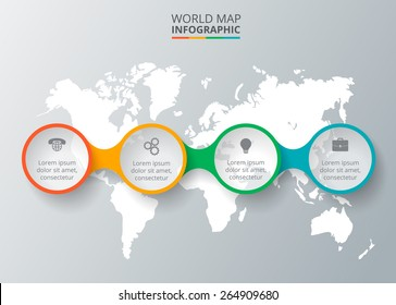 Vector world map with infographic elements. Template for diagram, graph, presentation. Business concept with 4 options, parts, steps or processes. Abstract background