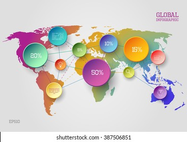 Vector world map infographic scheme with colorful circles and lines