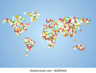 Globalizing world map people made flags stock photo 87200113 vector world map made of flowers gumiabroncs Gallery