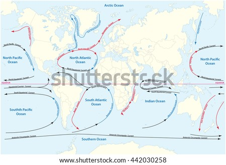 World Map With Currents.Vector World Map Major Marine Currents Stock Vector Royalty Free