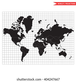 Vector world map. Most popular and usefull cylindrical conformal Mercator map projection. Scale equal in all directions around any point.  Mercator world map. World map with borders and countries.