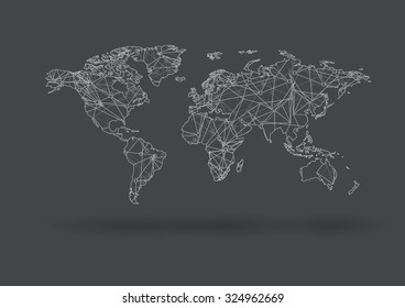 Vector world map with nodes linked by lines connecting dots and lines. Connection structure. Vector science background. Polygonal vector background