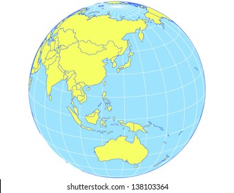 Polar centered vector world map albers vector de stock138102350 vector world map in orthographic projection as globe centered on the asia pacific region gumiabroncs Image collections
