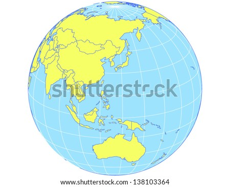 Vector world map orthographic projection globe stock vector royalty vector world map in orthographic projection as globe centered on the asia pacific region gumiabroncs Image collections
