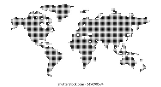 Vector world map pixels style.