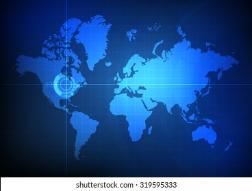 Vector : World map and pointer location