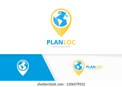 Vector world and map pointer logo combination. Earth and gps locator symbol or icon. Unique globe and pin logotype design template.