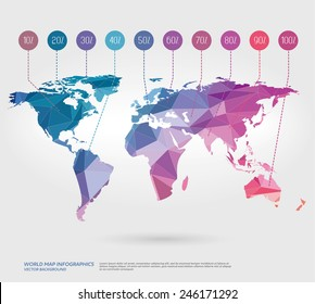 Vector world map with polygonal background.