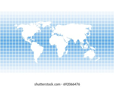 vector world map silhouette on bright blue squares background