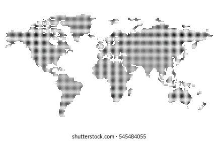 Vector - World map (Square/Pixel) - Medium