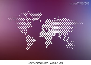 Vector world map template with round  spots, dots for business. Graphic design abstract art for technology and travel by train, car, plane subject.