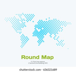 Vector world map template with rounds spots, dots for business. Graphic design abstract art for technology and travel by train, car, plane subject.