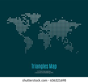 Vector world map template with triangles for business. Graphic design abstract art for technology and travel by train, car, plane subject.subjects.