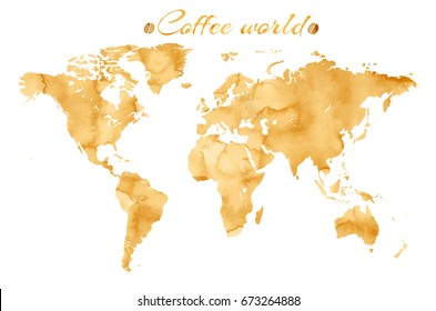 Watercolor world map images stock photos vectors shutterstock vector world map in watercolor style with coffee splashes gumiabroncs Choice Image