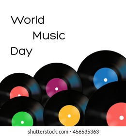 Vector world music day poster on white background with vinyl records