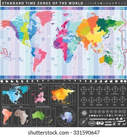 Vector world standard time zones map. All continent separately. Local time zones clocks signs. Navigation, location, travel and transportation icons.
