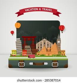 Vector of world travel and Holidays concept. Open suitcase with famous monument around the world.