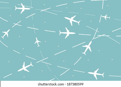 vector world travel map with planes on their way