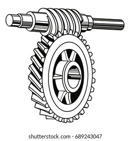Vector worm gear mechanism isolated on white background.