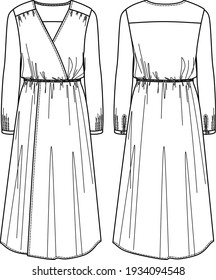 Vector wrap long sleeved maxi dress fashion CAD, woman v-neck long dress technical drawing, template, flat, sketch, mock up. Jersey or woven fabric dress with front, back view, white color