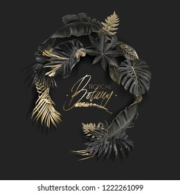 Vector wreath with black and gold tropical leaves on dark background. Luxury exotic botanical design for cosmetics, spa, perfume, aroma, beauty salon. Best as wedding invitation card